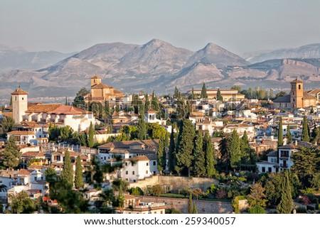 Muslim region of Albayzin in Granada, Spain - stock photo