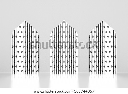 Muslim style arches,Islamic architecture. 3d render  - stock photo