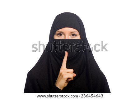 Muslim woman isolated on the white - stock photo