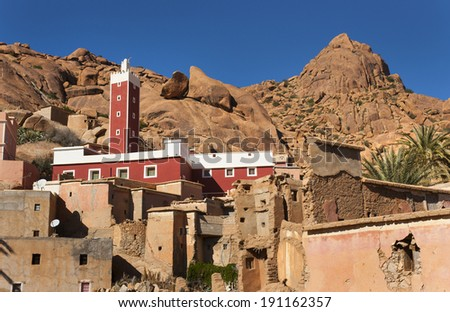 Muslims mosque in the small mountain village  - stock photo