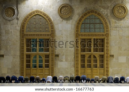 Muslims say prayers in old mosque in Damascus, Syria,  third position #3 - stock photo