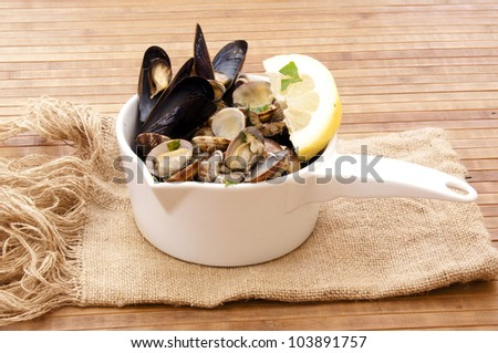 mussels and clams - stock photo