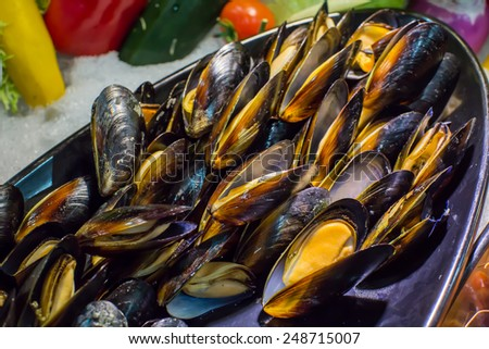 mussels on buffet line - stock photo