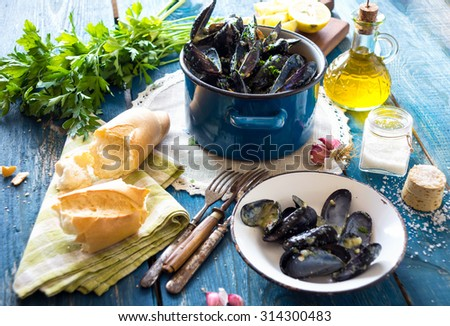 Mussels with buzara sauce  - stock photo
