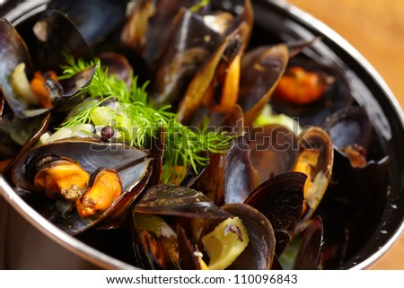 mussels with lemon - stock photo