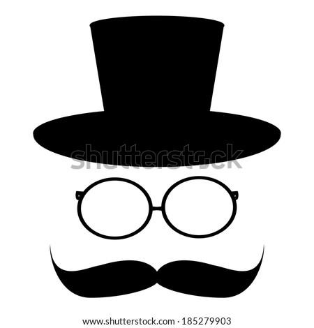 mustache, hat, glass - stock photo