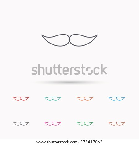 Mustache icon. Hipster symbol. Gentleman sign. Linear icons on white background. - stock photo