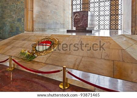 Mustafa Kemal Ataturk mausoleum at Ankara Turkey - stock photo