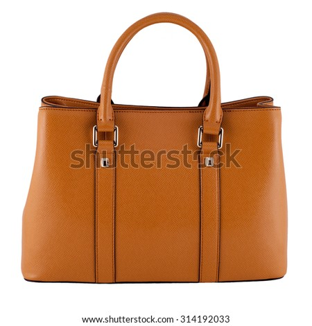 Mustang glossy female leather bag isolated on white background - stock photo