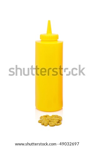 Mustard bottle with soft shadow on a white background - stock photo