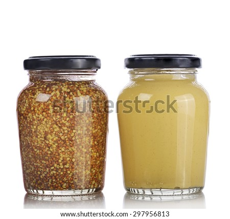 Mustard Sauce and Whole Grain Mustard Isolated on White Background - stock photo