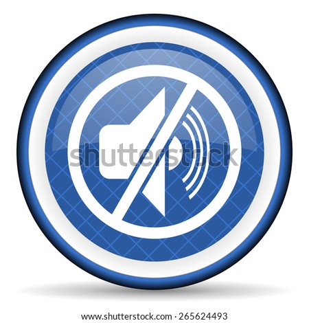 mute blue icon silence sign  - stock photo