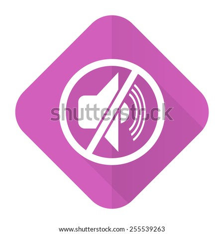 mute pink flat icon silence sign  - stock photo