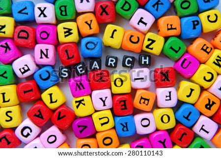 muticolor mixed  letters and black word search - stock photo