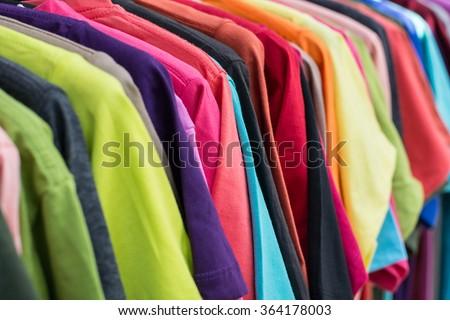 muticolor of T-SHIRT, pattern of rainbow - stock photo