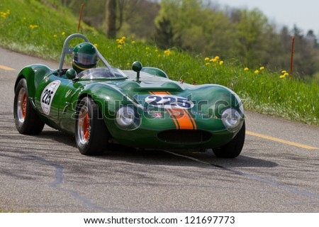 MUTSCHELLEN, SWITZERLAND-APRIL 29: Vintage race touring car Ginetta G4R from 1963 at Grand Prix in Mutschellen, SUI on April 29, 2012.  Invited were vintage sports cars and motorbikes. - stock photo