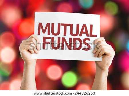 Mutual Funds card with colorful background with defocused lights - stock photo