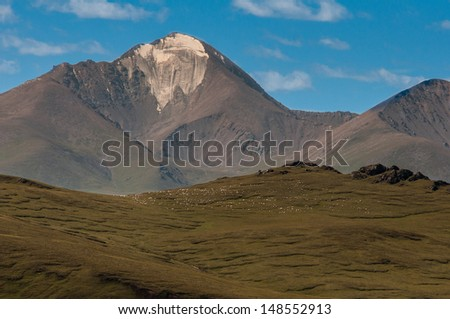 Muztagh Ata mountain in Xinjiang China. Good for China tourism - stock photo
