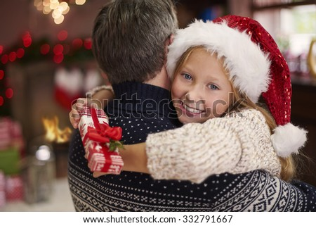 My daddy and I during the christmas time - stock photo