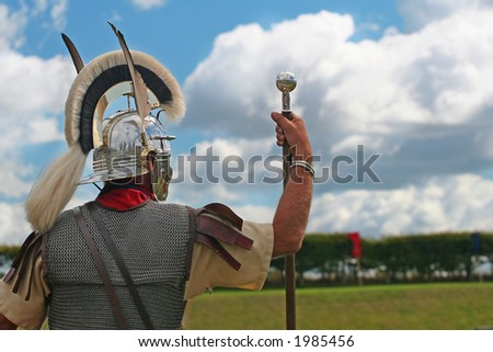 My Lands, Roman Officer looks out over Conquered Land - stock photo