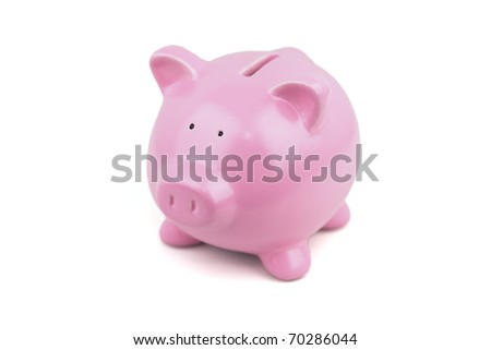 My Little pink piggy bank. - stock photo
