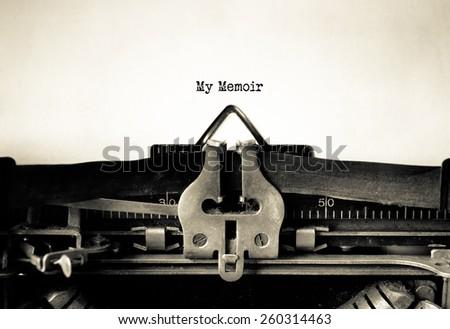 My Memoir written on vintage typewriter - stock photo