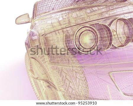 My own 3D car design - stock photo