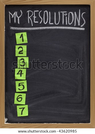 my resolutions - blank numbered list, white chalk handwriting and reminder notes on blackboard - stock photo