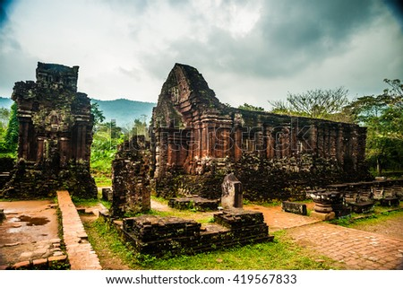 My Son, Ancient Hindu tamples of Cham culture in Vietnam near the cities of Hoi An and Da Nang. - stock photo