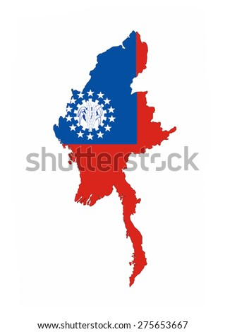 myanmar country flag map shape national symbol - stock photo