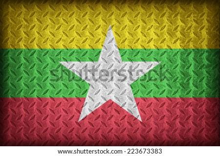 Myanmar flag pattern on the diamond metal plate texture ,vintage style - stock photo