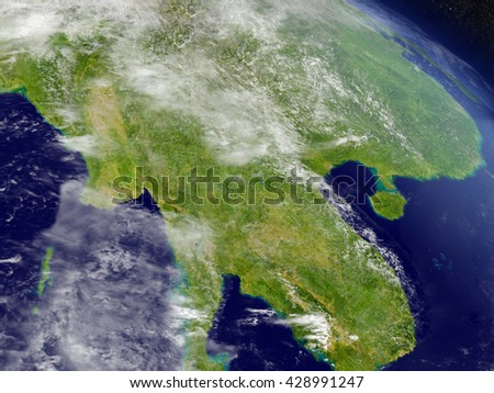 Myanmar with surrounding region as seen from Earth's orbit in space. 3D illustration with highly detailed planet surface and clouds in the atmosphere. Elements of this image furnished by NASA. - stock photo