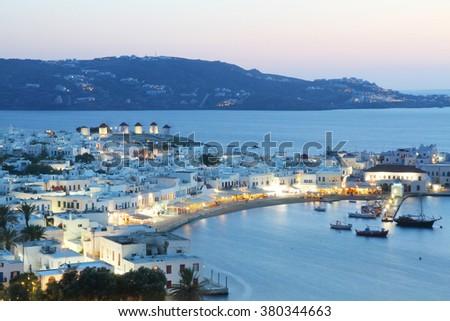 Mykonos island evening, Greece - stock photo