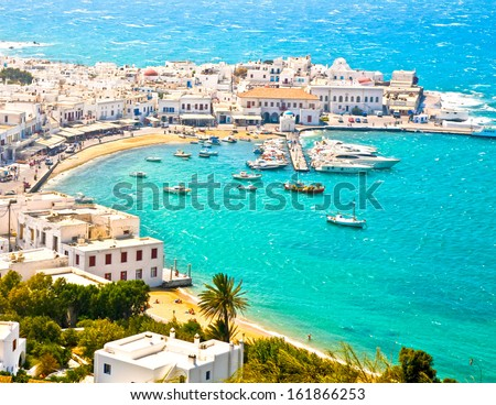 Mykonos Town Chora and Harbor - stock photo