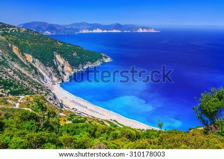 Myrtos beach, Kefalonia, Greece - stock photo
