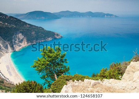 Myrtos Beach, Kefalonia Island, Greece - stock photo