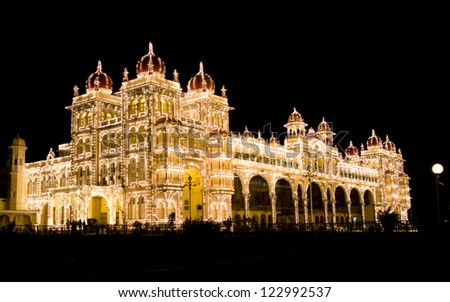 Mysore Palace at night - stock photo