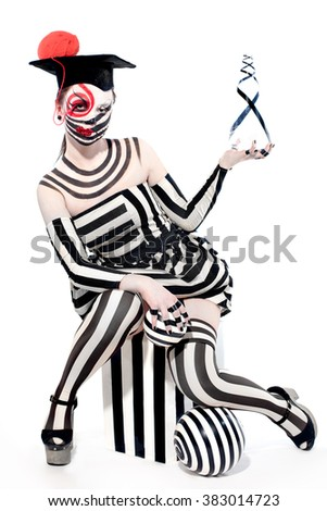 mysterious circus clown in Masquerade costume with creative make up - stock photo