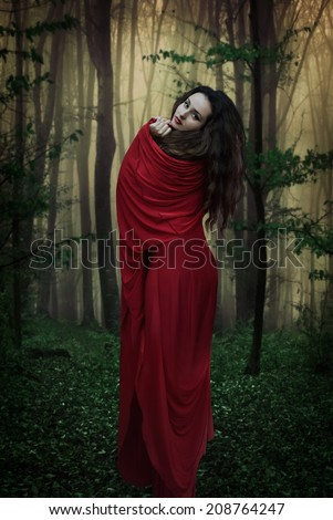 Mysterious dark woman in forest at night. Book cover - stock photo