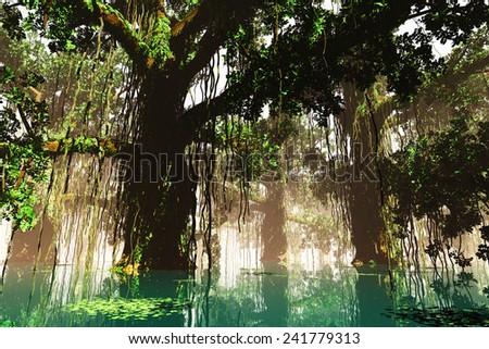 Mysterious Deep Jungle 3D artwork - stock photo