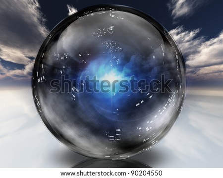 Mysterious energy contained within crystal sphere - stock photo