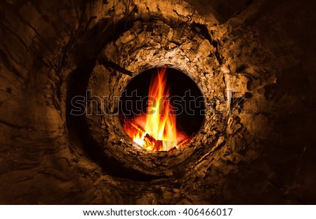 Mysterious hole and fire  - stock photo