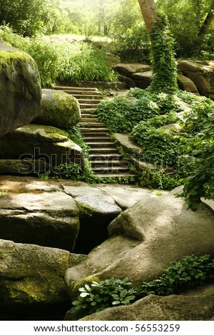 Mysterious ladder in old forest - big stones with moss - stock photo