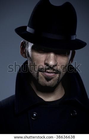 Mysterious man retro portrait - stock photo