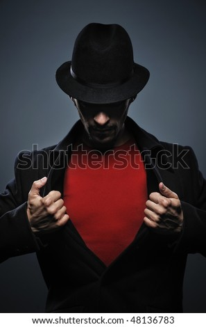 Mysterious man retro portrait - stock photo