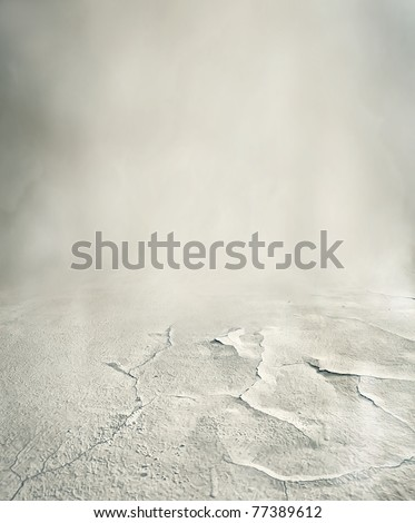 Mysterious road in fog - stock photo