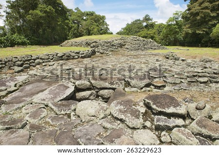 Mysterious ruins of Guayabo de Turrialba, Costa Rica. The site is of great archeological  importance, it's settlement was occupied 1000 BC - 1400 AD after which it was mysteriously abandoned. - stock photo