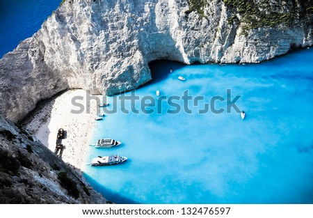 Mysterious shipwreck on the paradise beach. Zakynthos island. Greece - stock photo