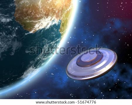 Mysterious spaceship orbiting planet Earth. Digital illustration - stock photo
