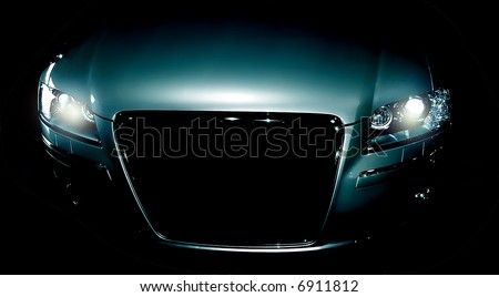 Mysterious sport car in the shadows - stock photo